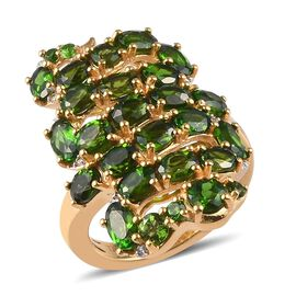 GP 4.17 Ct Russian Diopside and Zircon and Blue Sapphire Snake Design Ring in Gold Plated Silver