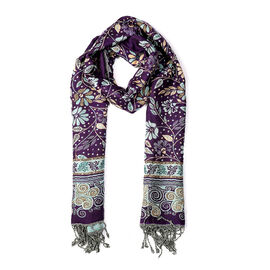 Seamless Floral Pattern Scarf (Size 70x200 mm) with Tassels