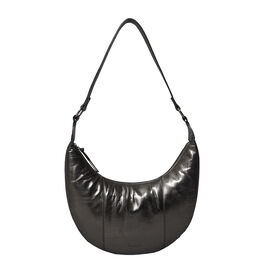ASSOTS LONDON Layla Genuine Pebble Grain Leather Hobo Shoulder Bag - Pewter