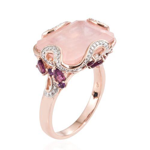 GP Rose Quartz (Oct), Rhodolite Garnet, Amethyst and Kanchanaburi Blue Sapphire Ring in Rose Gold Overlay Sterling Silver 16.500 Ct.