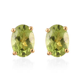 Hebei Peridot Stud Earrings (with Push Back) in 14K Gold Overlay Sterling Silver 1.75 Ct.