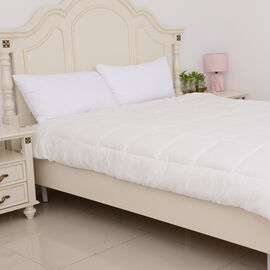 Luxury Double Duvet with Wool-Rich Filling and Gold Piping (Size 200x200 Cm) - Cream Colour