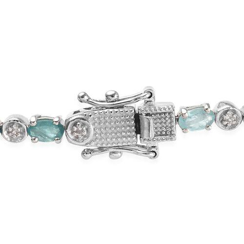 Grandidierite (Ovl), Natural Cambodian Zircon Bracelet (Size 7.5) in Platinum Overlay Sterling Silver 5.50 Ct., Silver wt 9.08 Gms