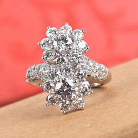 J Francis - Platinum Overlay Sterling Silver Floral Bypass Ring Made with SWAROVSKI ZIRCONIA 6.48 Ct.