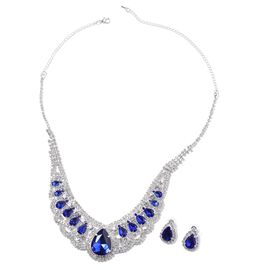 2 Pcs Set Blue Glass and White Crystal Necklace 22 Inch and Stud Earring