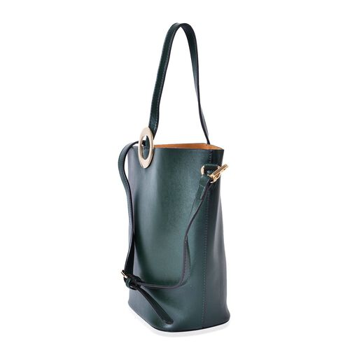 2 Piece Set - Dark Green Colour Large Size Handbag with Adjustable and Removable Shoulder Strap (Size 33x28x21x13 Cm) and Mustard Colour Small Handbag (Size 22x18x15x10 Cm)