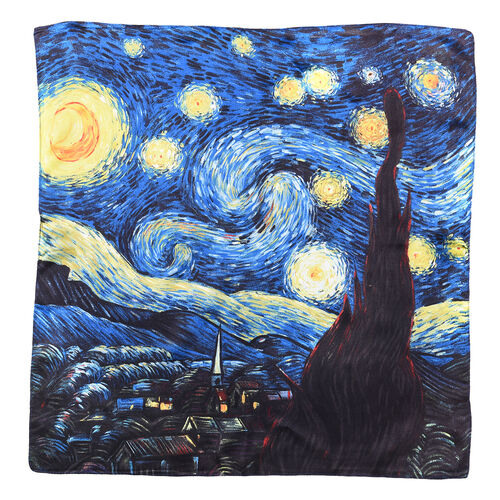 LA MAREY Pure 100% Mulberry Silk Scarf with Velvet Drawstring Pouch in Starry Night Print - Navy  (Size 52x52cm)