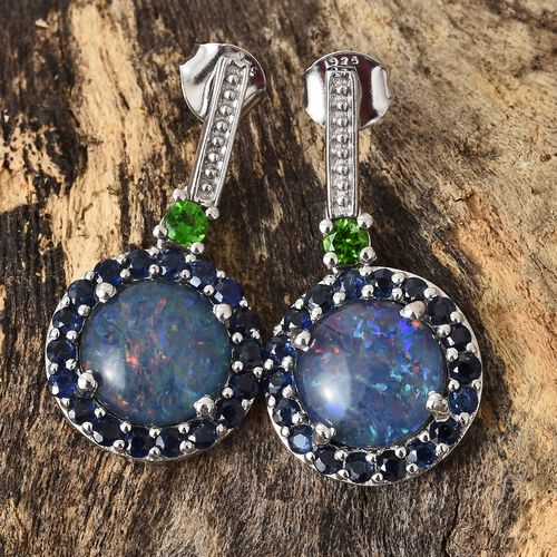 Designer Inspired-Australian Boulder Opal (Rnd 10 MM), Kanchanaburi Blue Sapphire and Russian Diopside Earrings (with Push Back) in Platinum Overlay Sterling Silver