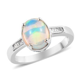 Ethiopian Welo Opal (Ovl), Diamond Ring in Platinum Overlay Sterling Silver 1.15 Ct.