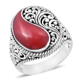 Royal Bali Collection Coral Filigree Ring in Sterling Silver 4.000 Ct. Silver wt 7.80 Gms.