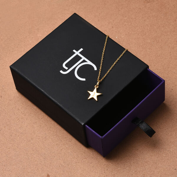 Personalised Engraved Initial Star  Pendant with Chain