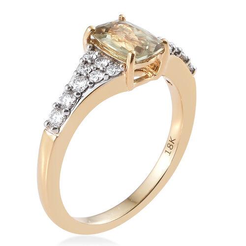 ILIANA 18K Yellow Gold AAA Turkizite (Cush), Diamond (SI/G-H) Ring 1.300 Ct
