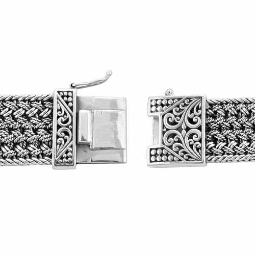 Royal Bali Collection - EON 1962 Swiss Movement Water Resistant Bracelet Watch (Size 6.75) in Sterling Silver, Silver wt 64 Gms