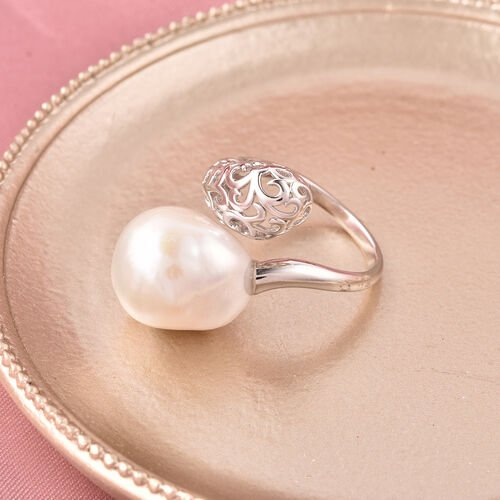 LucyQ - Freshwater Baroque White Pearl Ring in Rhodium Overlay Sterling Silver