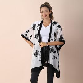 JOVIE Chiffon Floral Embroidery kimono - White & Black