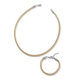 2 Piece Set - Dual Tone Stainless Steel Curb Chain Necklace (Size 20) and Bracelet (Size 7.5 with 1 inch Extender)