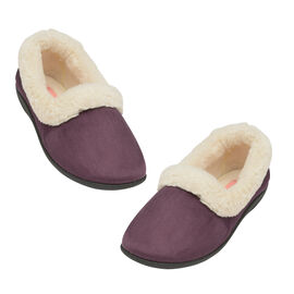 Dunlop Sandie Ladies Fleece Lined Collared Full Slippers in Purple
