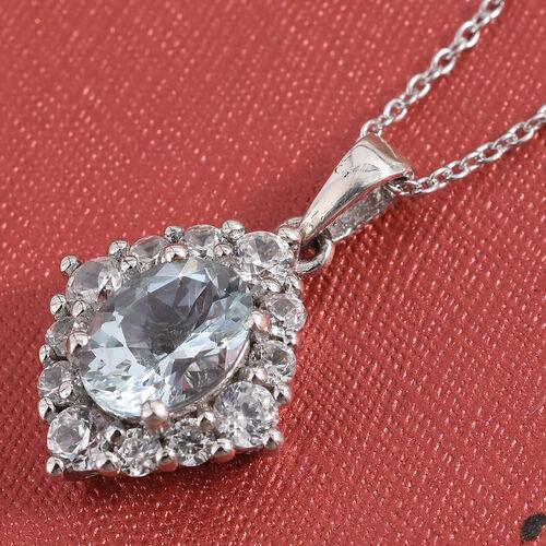 Espirito Santo Aquamarine (Ovl 1.10 Cts), Natural Cambodian Zircon Pendant With Chain (Size 20) in Platinum Overlay Sterling Silver 2.000 Ct.