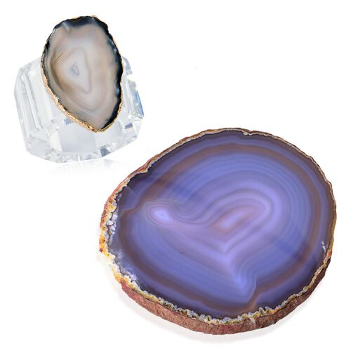 Grey Agate Napkin Ring and Coaster in Yellow Gold Tone 525.000 Ct.