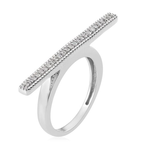 Diamond (Rnd) Bar Stacking Ring in Platinum Overlay Sterling Silver 0.100 Ct.