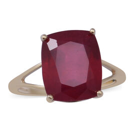 9K Yellow Gold  AAA African Ruby (FF) Solitaire Ring 8.50 Ct.