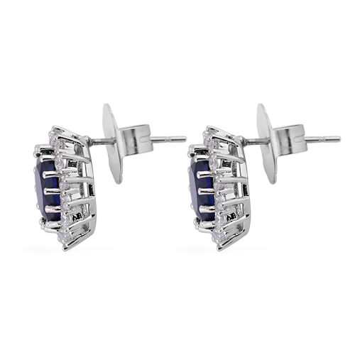 3 Piece Set - Simulated Diamond and Simulated Blue Sapphire Ring, Earrings (with Push Back) and Pendant with Chain (Size 20 with 2 inch Extender)