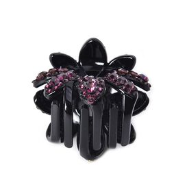 Crystal Studded Small Hair Claw Clip - Dark Purple