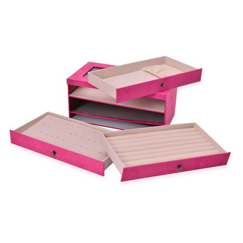 Fuchsia Colour 3 Drawer Jewellery Box (Size 29x16x14 Cm)