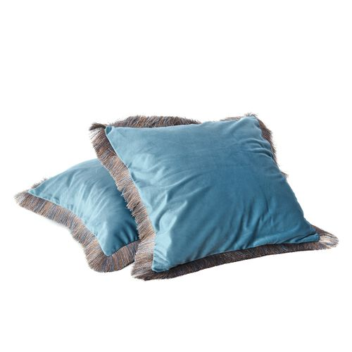 Luxury Edition - Set of 2 Extremely Soft Decorative Cushion Covers with Trimming in Teal Colour (Size 45x45 Cm)
