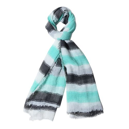 Black, White and Mint Green Colour Strip Pattern Scarf (Size 180x90 Cm)