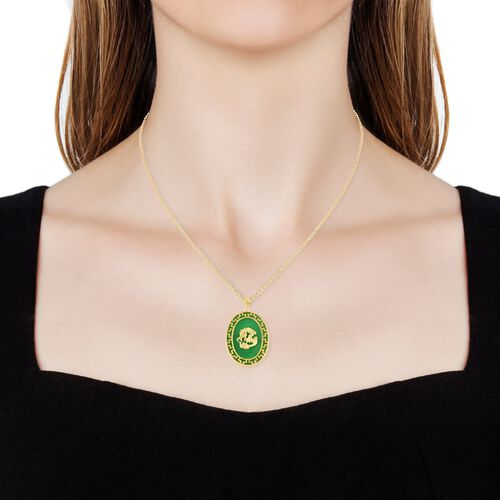 Green Jade Dragon Pendant with Chain in 14K Gold Overlay Sterling Silver 24.000 Ct.
