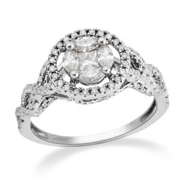 NY Close Out Deal- 14K White Gold (I1-I2/G-H) Diamond (Sqr and Mrq) Ring 0.749 Ct.