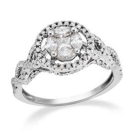 0.75 Ct Diamond Cluster Ring in 14K White Gold 3.1 Grams I1-I2 GH
