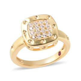 RACHEL GALLEY Majestic Collection Zircon and Ruby Cluster Ring in Gold Plated Silver