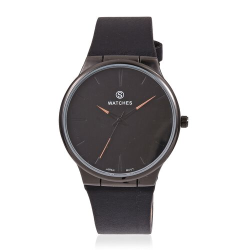 STRADA Japanese Movement Black Plated Water Resistant Watch with Black Colour Strap