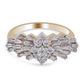 ILIANA 18K Yellow Gold IGI Certified Diamond (SI/G-H) Ballerina Ring 1.000 Ct.