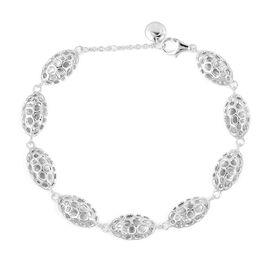 WEBEX- Rachel Galley Rhodium Plated Sterling Silver Pebble Lattice Bracelet (Size 8), Silver wt 11.09 Gms.