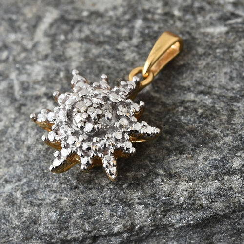 Diamond (Rnd) Snowflake Pendant in 14K Gold Overlay Sterling Silver