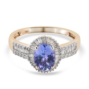 9K Yellow Gold AA Tanzanite and Diamond Ring 1.60 Ct.