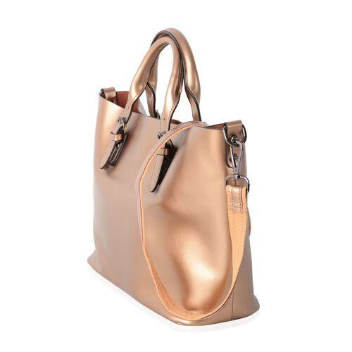 2 Piece Set - 100% Genuine Leather Metallic Golden Tote Bag (Size 36x30x23.5x12.5 Cm) and Leopard Pattern Pouch (Size 28x19x10 Cm)