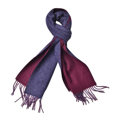 100% Wool Navy and Red Colour Reversible Scarf with Tassels (Size 180X30 Cm)