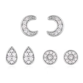 Set of  3 - ELANZA Simulated Diamond (Rnd) Pear, Round and Moon Earrings in Rhodium Overlay Sterling