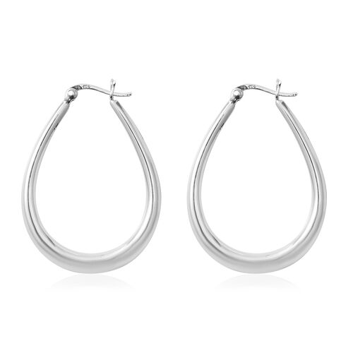 Rhodium Overlay Sterling Silver Hoop Earrings (With Clasp), Silver wt 4.30 Gms.