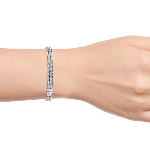 Diamond (Bgt) Bracelet (Size 7.5) in Platinum Overlay Sterling Silver 5.00 Ct, Silver wt 17.00 Gms