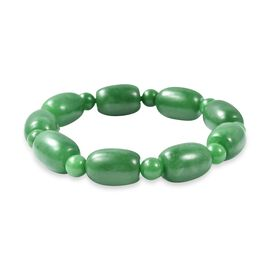 285.50 Ct Green Jade Beaded Bracelet 7 Inch
