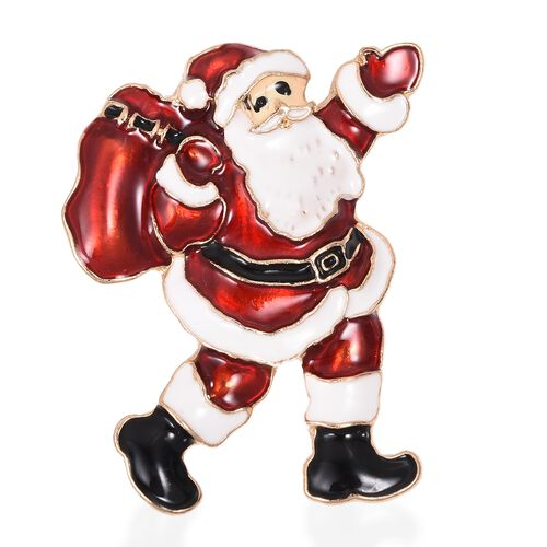 Santa Claus With Bag Brooch in Gold Tone
