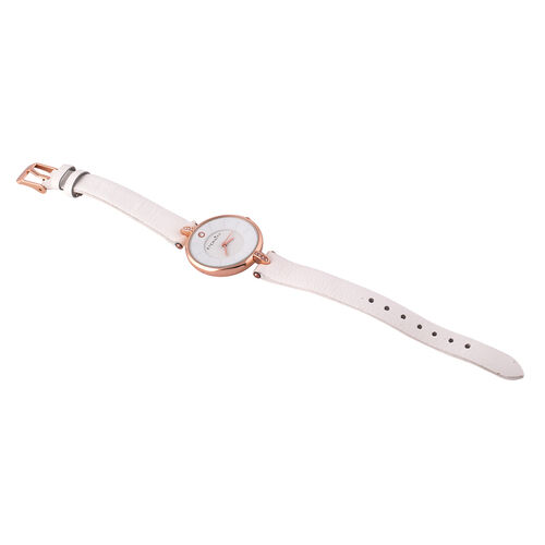 ETERNITY Swarovski Studded Ladies Watch with White Dial and Genuine Leather White Strap