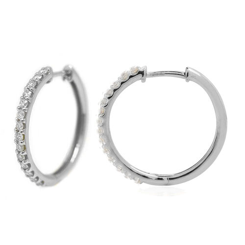 14K White Gold Diamond (Rnd) (I2/G-H) Hoop Earrings (with Clasp Lock) 1.000 Ct, Gold wt. 5.90 Gms