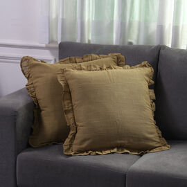 Set of 2 Cotton Linen Solid Cushion Cover with Ruffled Flange (Size - 45x4 Cm) - Light Brown