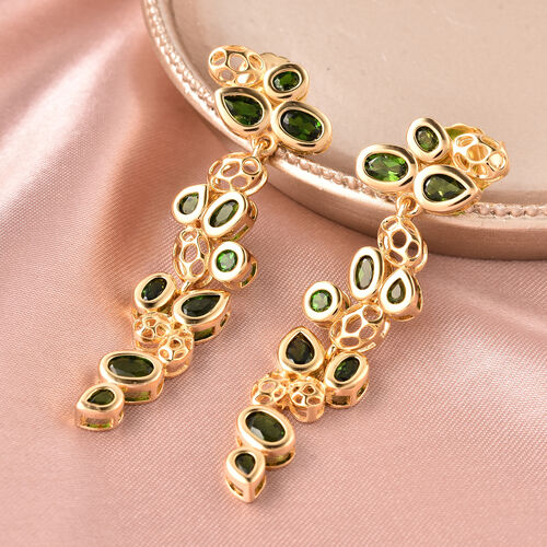 RACHEL GALLEY Misto Collection - AA Russian Diopside Dangle Earrings (with Push Back) in Yellow Gold Overlay Sterling Silver 6.40 Ct, Silver wt. 10.43 Gms